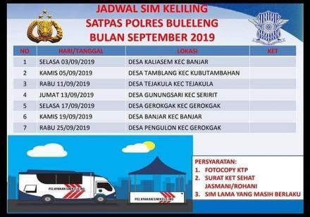 JADWAL SIM KELILING BULAN SEPTEMBER 2019